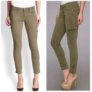 Paige Denim Fatigue Green Zip Cargo Pants